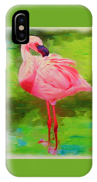 IPhone Case featuring the painting Pink Flamingo by Deborah Boyd