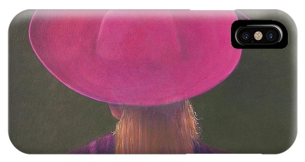 Head And Shoulders iPhone Case - Pink Hat, 2014 Oil On Canvas by Lincoln Seligman