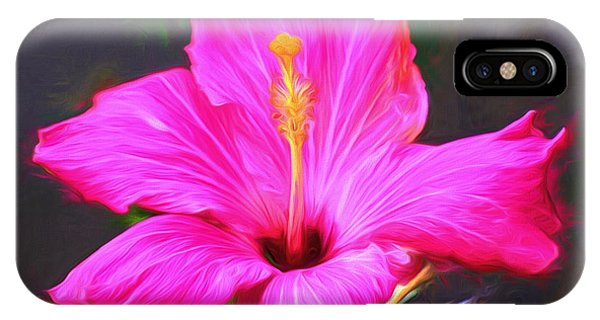 Pink Hibiscus Digital Painting In Oil IPhone Case