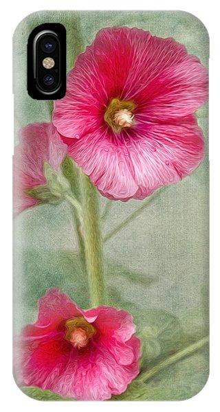 Pink Hollyhocks IPhone Case