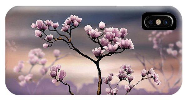 Shrub iPhone Case - Pink Magnolia - Dark Version by Peter Awax