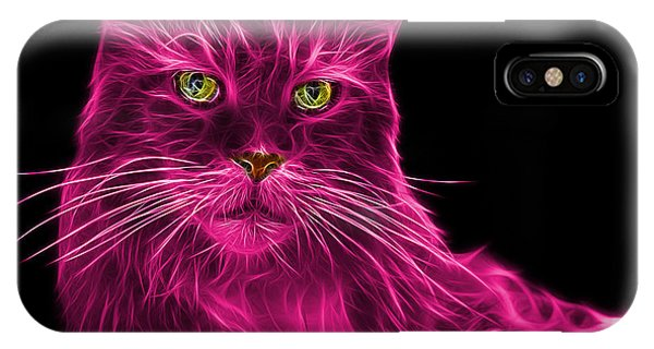 IPhone Case featuring the painting Pink Maine Coon Cat - 3926 - Bb by James Ahn