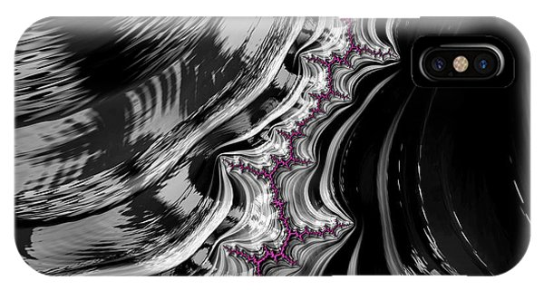 Pink On Black And White Fractal Abstract IPhone Case