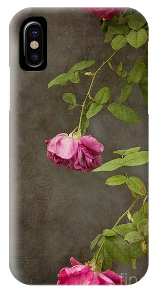 Floral iPhone Case - Pink On Gray by K Hines