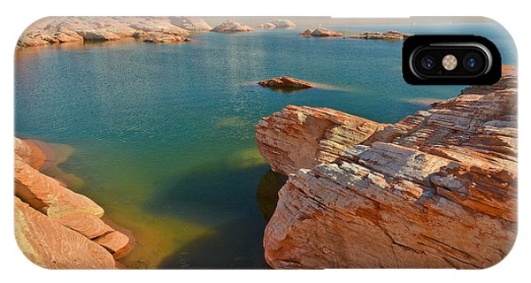 IPhone Case featuring the photograph Pink Rocks Blue Water by Jeff Loh
