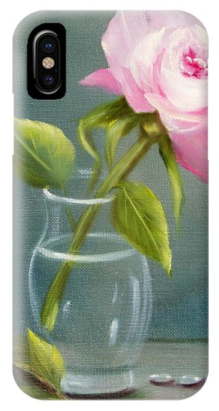 Pink Rose In Glass IPhone Case