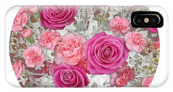 Pink Roses And Carnations In Circle Phone Case by Rosemary Calvert