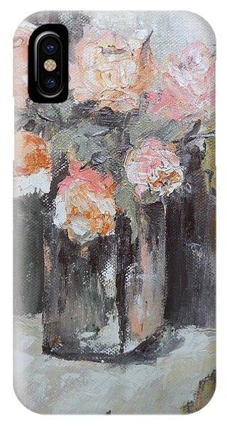 Pink Roses In A Vase Phone Case by Maria Karalyos