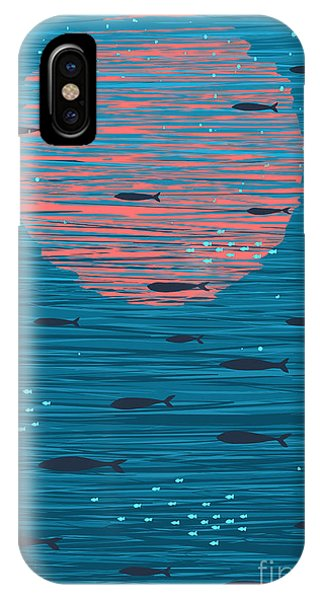 Bright iPhone Case - Pink Sunset And Fish Underwater Cartoon by Popmarleo
