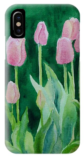 Pink Tulips Colorful Flowers Garden Art Original Watercolor Painting Artist K. Joann Russell IPhone Case