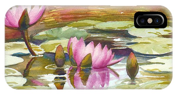 Pink Waterlilies IPhone Case