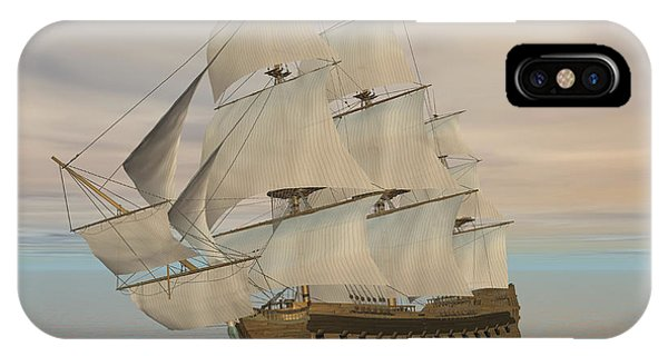 Schooner iPhone Case - Pirate Ship With Black Jolly Roger Flag by Elena Duvernay