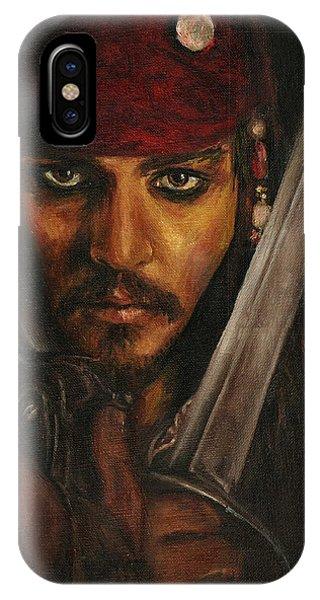 Orlando Bloom iPhone Case - Pirates- Captain Jack Sparrow by Lina Zolotushko