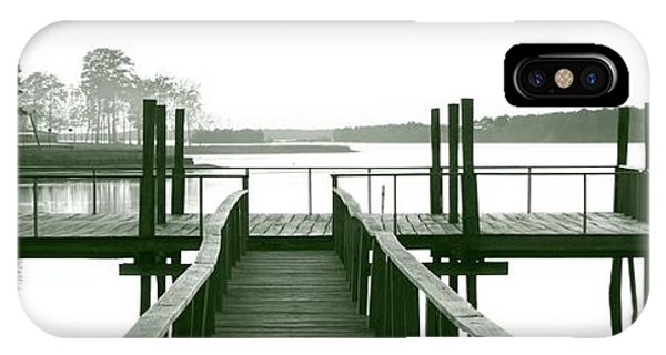 Pirate's Cove Pier In Monochrome IPhone Case
