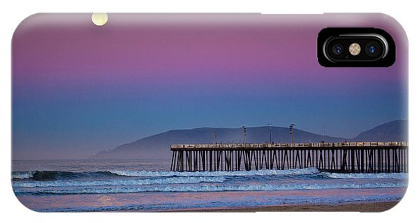 Pismo Beach Moonset At Sunrise IPhone Case