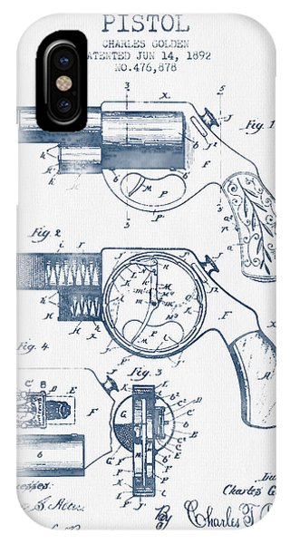Weapons iPhone Case - Pistol Patent From 1892 -  Blue Ink by Aged Pixel