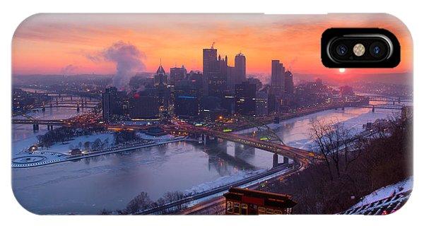 Pittsburgh Skyline Winter 2 IPhone Case