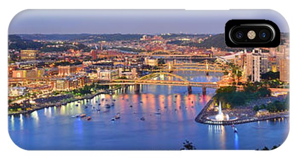 Downtown iPhone Case - Pittsburgh Pennsylvania Skyline At Dusk Sunset Extra Wide Panorama by Jon Holiday