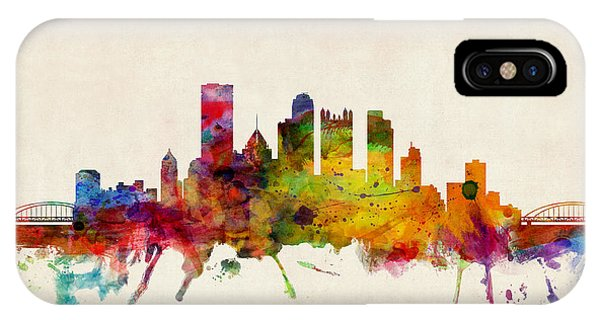 Skyline iPhone Case - Pittsburgh Pennsylvania Skyline by Michael Tompsett