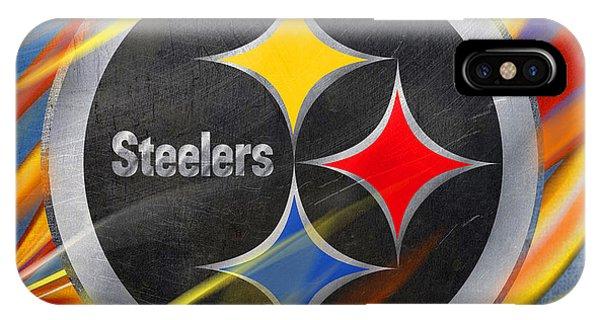 Logo iPhone Case - Pittsburgh Steelers Football by Tony Rubino