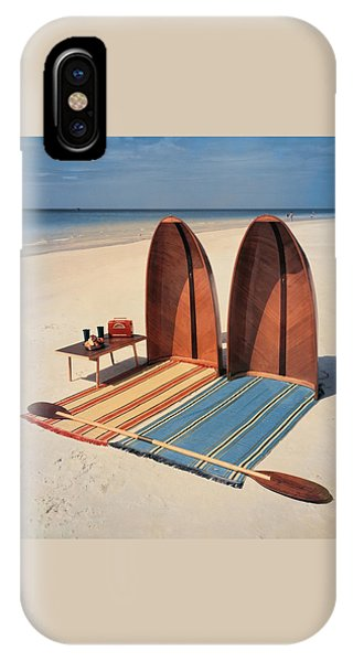 Exterior iPhone Case - Pixie Collapsible Boat On The Beach by Lois and Joe Steinmetz