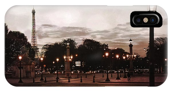 Concorde iPhone Case - Paris Place De La Concorde Sepia Art - Paris Eiffel Tower View Place De La Concorde Street Lamps  by Kathy Fornal