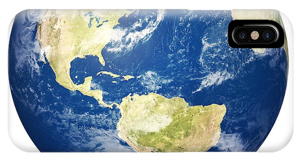 Planet Earth On White - America IPhone Case