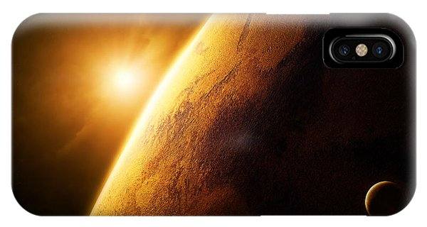 Sun Rays iPhone Case - Planet Mars Close-up With Sunrise by Johan Swanepoel