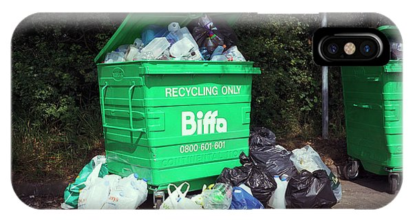 Rubbish Bin iPhone Case - Plastic Recycling by Robert Brook/science Photo Library
