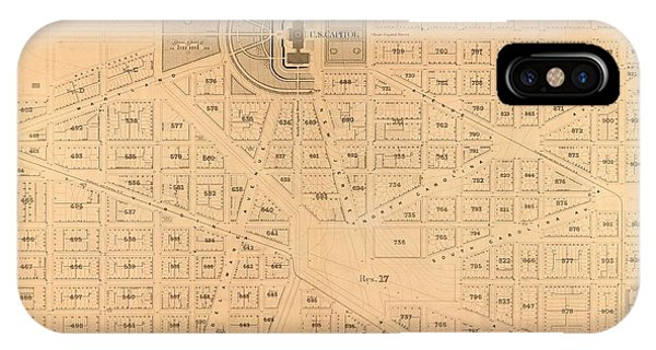 Capitol iPhone Case - Plat Map Us Capitol by Baltzgar