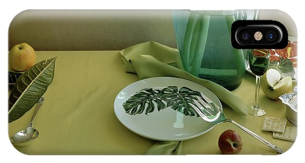 Plates, Apples And A Vase On A Green Tablecloth IPhone Case