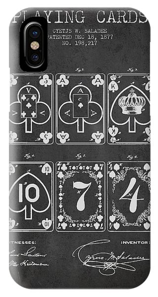 Playing iPhone Case - Playing Cards  Patent Drawing From 1877 - Dark by Aged Pixel