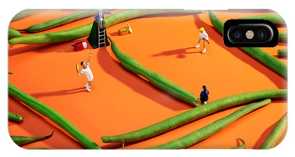 Playing Tennis Among French Beans Little People On Food IPhone Case