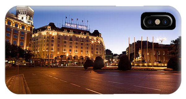 Prado iPhone Case - Plaza De Neptuno And Palace Hotel by Panoramic Images