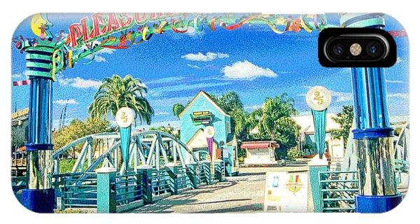 Pleasure Island Sign And Walkway Downtown Disney IPhone Case