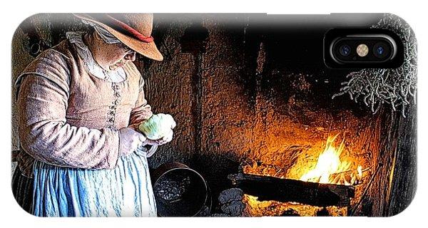 Plimoth Plantation  Pilgrim Fireplace Cooking IPhone Case