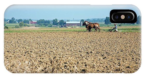 Amish Country iPhone Case - Ploughing On An Amish Farm by Jim West