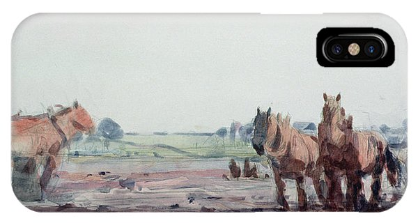 Plowing iPhone Case - Plow Horses by Harry Becker