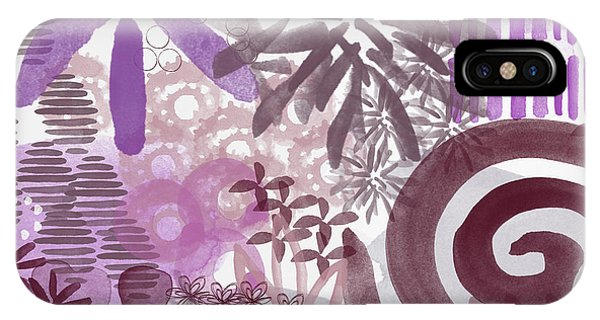 Orchid iPhone Case - Plum And Grey Garden- Abstract Flower Painting by Linda Woods