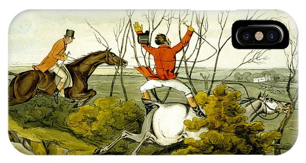 Accident iPhone Case - Plunging Through The Hedge From Qualified Horses And Unqualified Riders by Henry Thomas Alken