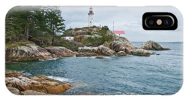 Point Atkinson Lighthouse And Rocky Shore IPhone Case