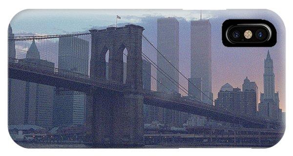 Pointillistic Brooklyn Bridge Lower Manhattan IPhone Case