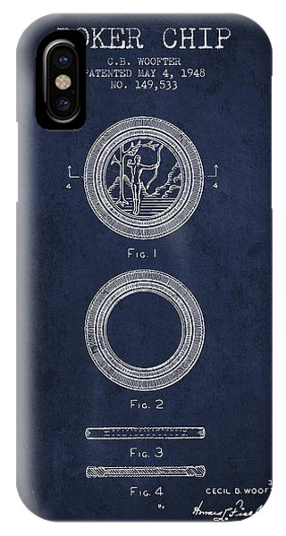 Poker Chip Patent From 1948 - Navy Blue IPhone Case