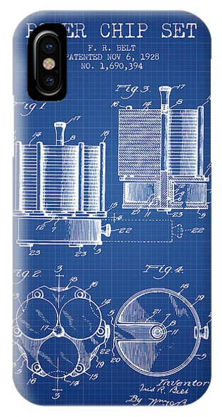 Poker Chip Set Patent From 1928 - Blueprint IPhone Case