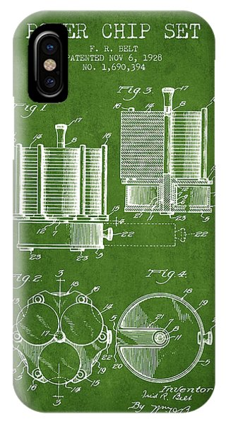 Poker Chip Set Patent From 1928 - Green IPhone Case