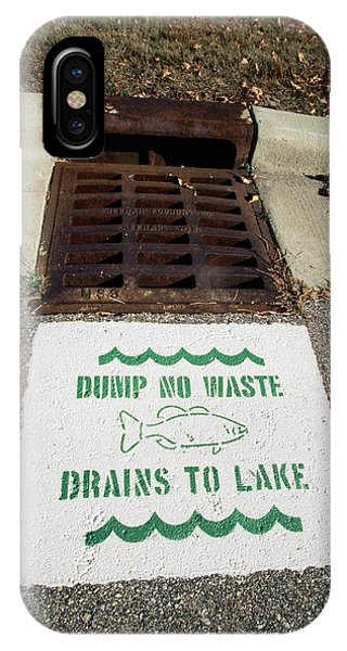 Drain iPhone Case - Pollution Warning Sign by David Hay Jones/science Photo Library