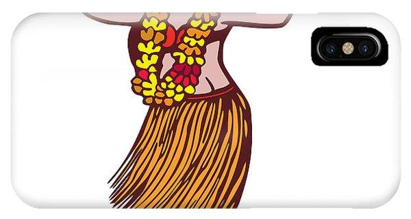 Hawaii iPhone Case - Polynesian Dancer Grass Skirt Linocut by Aloysius Patrimonio