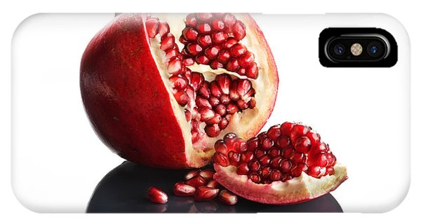 Food iPhone Case - Pomegranate Opened Up On Reflective Surface by Johan Swanepoel