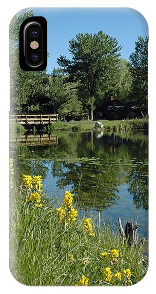 Pond And Bridge At Virginia City Montana IPhone Case
