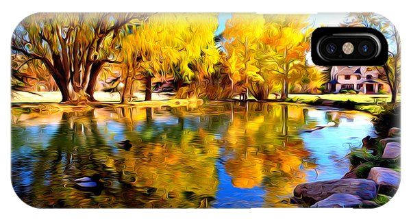 Pond Reflections At Rock Ledge Ranch IPhone Case